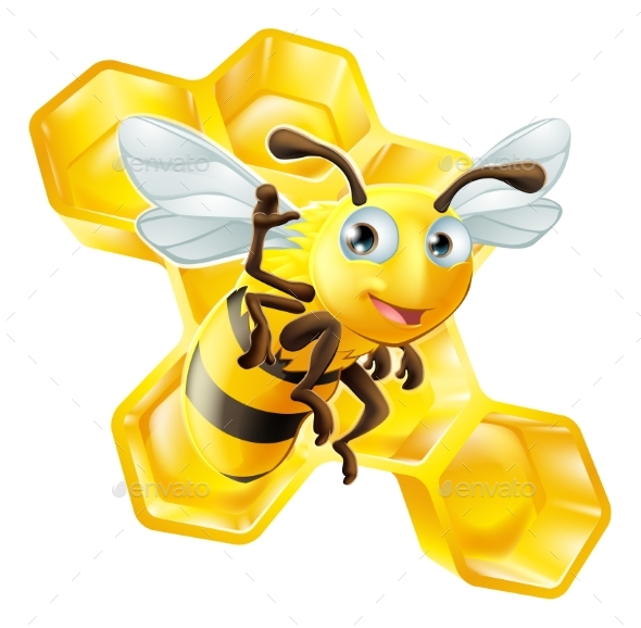 Cartoon Bee and Honeycomb - Animals Characters