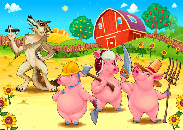 Three Little Pigs and Bad Wolf - Animals Characters