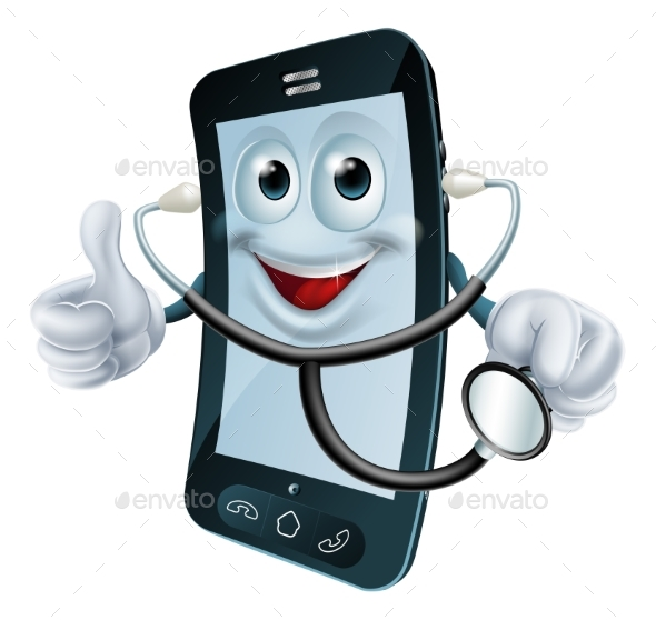 Cartoon Phone Character Holding a Stethoscope - Health/Medicine Conceptual