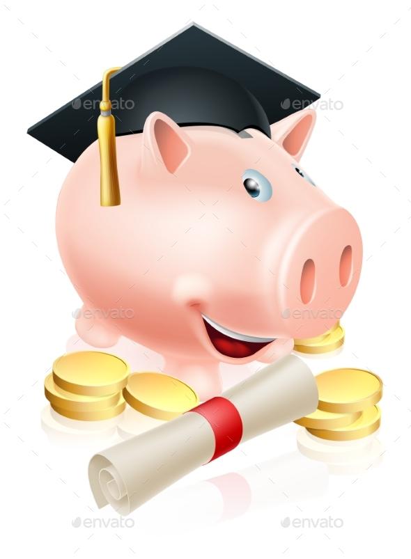 Saving for Career Piggy Bank - Miscellaneous Vectors