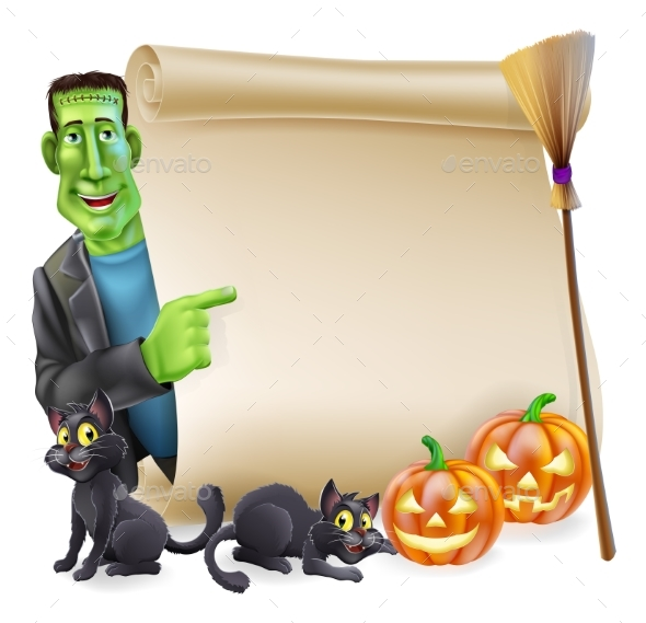 Halloween Scroll with Frankenstein - Miscellaneous Seasons/Holidays