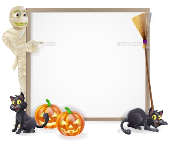Mummy Halloween Banner Sign - Backgrounds Decorative