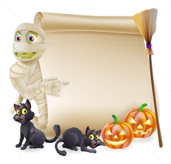 Mummy Scroll Halloween Banner - Miscellaneous Seasons/Holidays