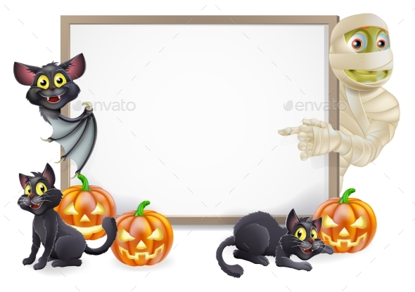 Halloween Sign with Mummy and Bat - Miscellaneous Seasons/Holidays