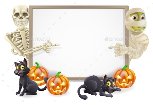 Halloween Sign with Skeleton and Mummy - Miscellaneous Seasons/Holidays