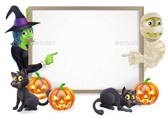 Mummy and Witch Halloween Sign - Miscellaneous Vectors