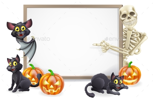 Halloween Sign with Skeleton and Bat - Miscellaneous Vectors