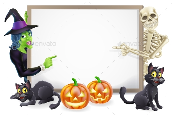 Halloween Sign with Skeleton and Witch - Backgrounds Decorative