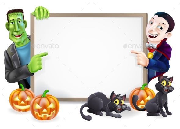 Dracula and Frankenstein Halloween Sign - Miscellaneous Seasons/Holidays