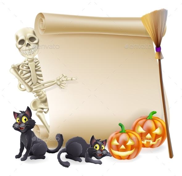 Halloween Skeleton Scroll Banner - Miscellaneous Seasons/Holidays