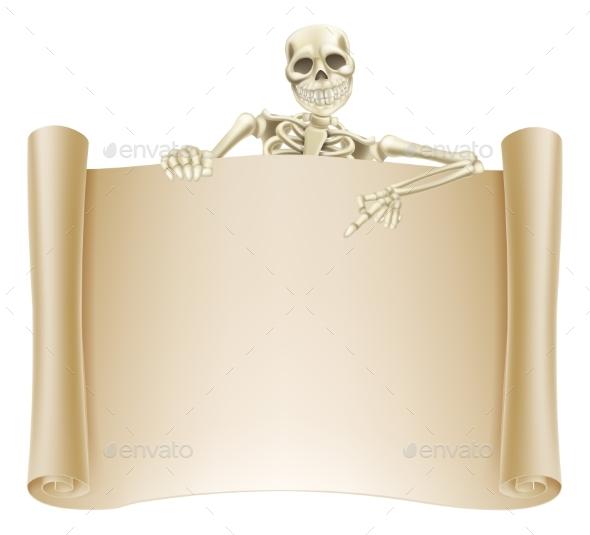 Skeleton Scroll Sign - Backgrounds Decorative