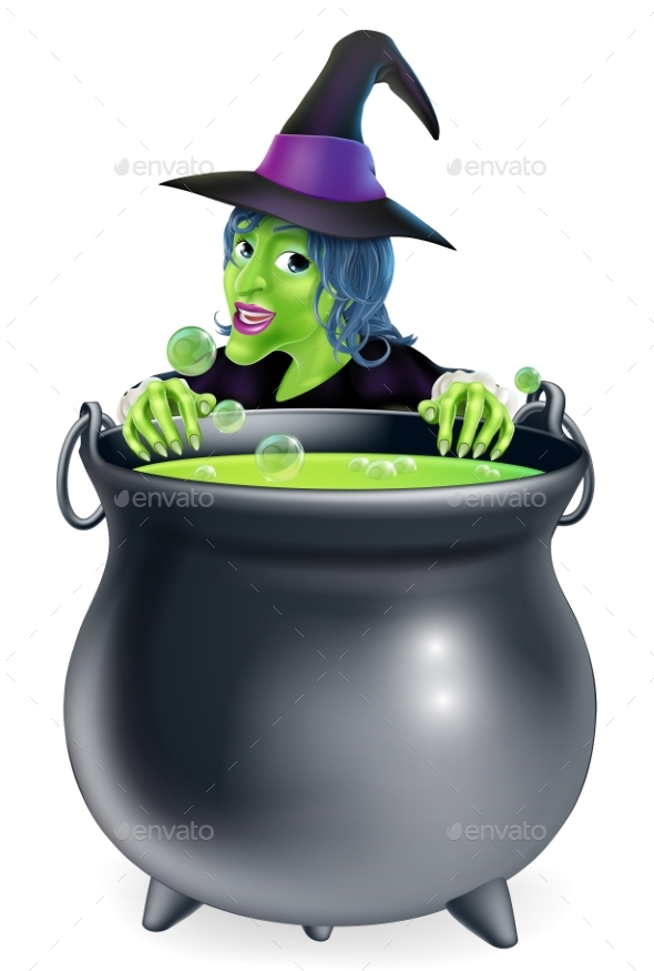 Witch and Cauldron Cartoon - Miscellaneous Characters