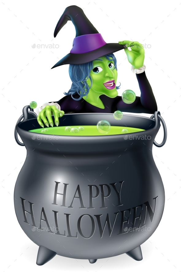 Happy Halloween Witch and Cauldron - Miscellaneous Characters