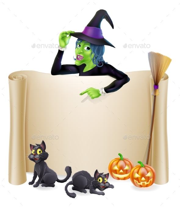 Halloween Witch Scroll Banner - Miscellaneous Seasons/Holidays