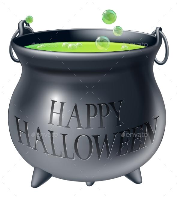 Happy Halloween Witch Cauldron - Miscellaneous Vectors