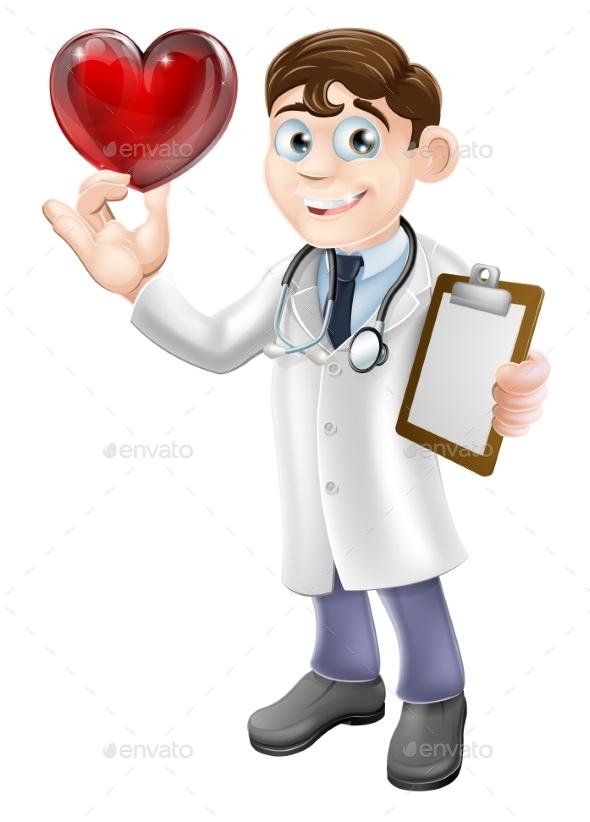 Cartoon Heart Doctor - Health/Medicine Conceptual