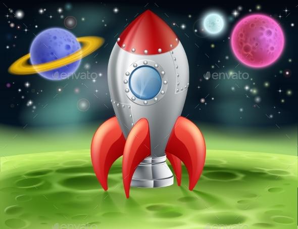 Cartoon Space Rocket on Alien Planet - Travel Conceptual