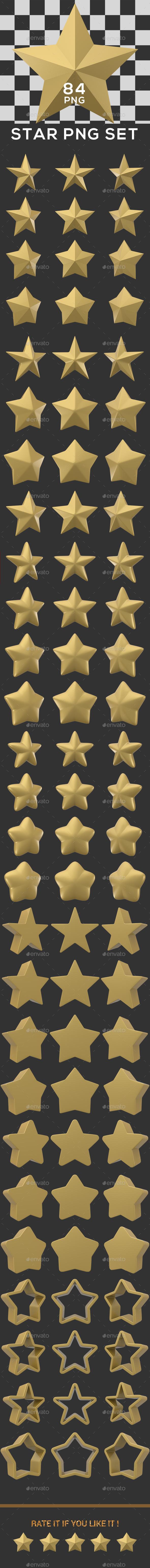 Star PNG Set - 3D Renders Graphics