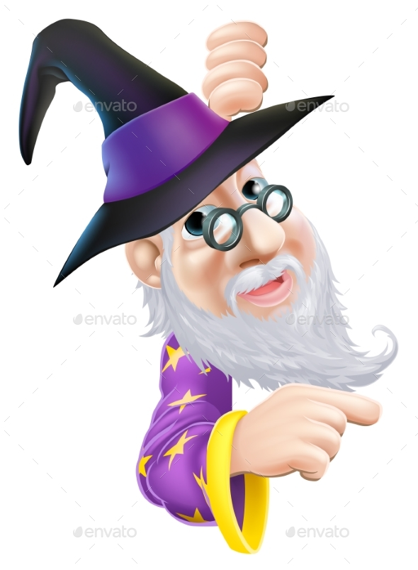 Wizard Peeping Around Sign - Miscellaneous Vectors