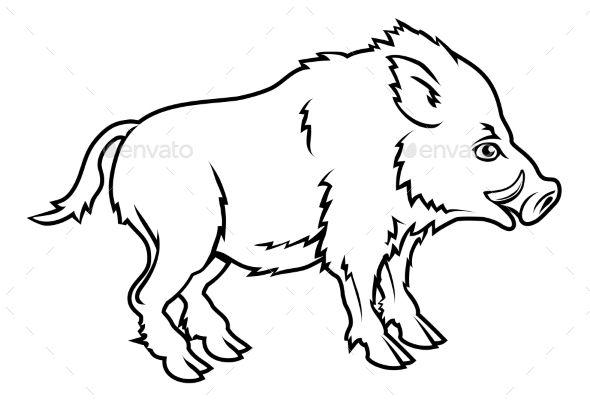 Stylized Boar Illustration - Animals Characters