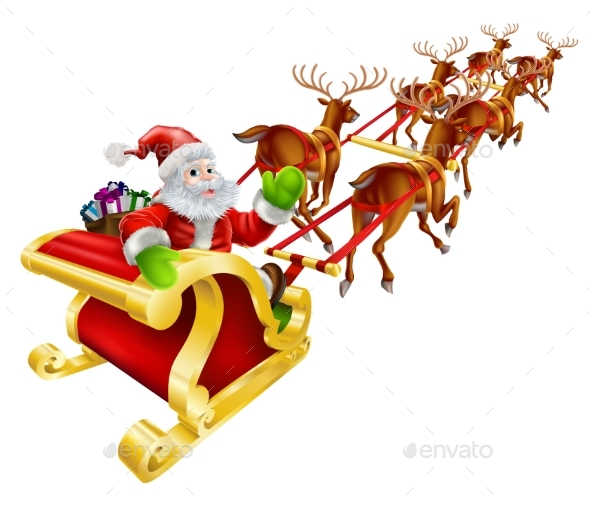 Christmas Santa Claus Flying in Sleigh - Christmas Seasons/Holidays