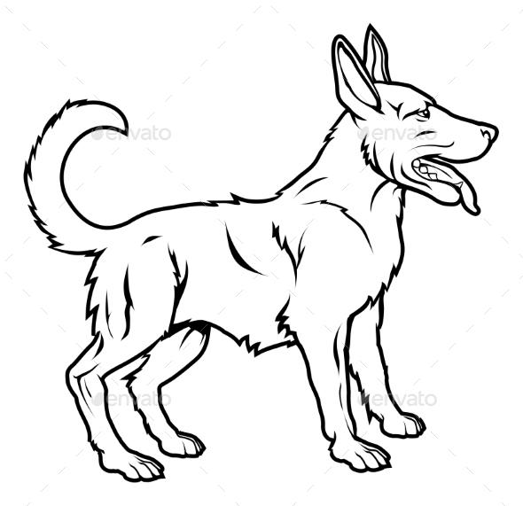 Stylized Dog Illustration - Animals Characters