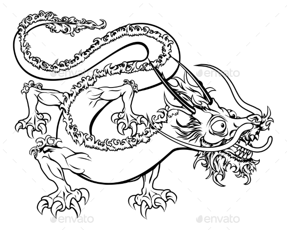 Stylized Dragon Illustration - Miscellaneous Vectors