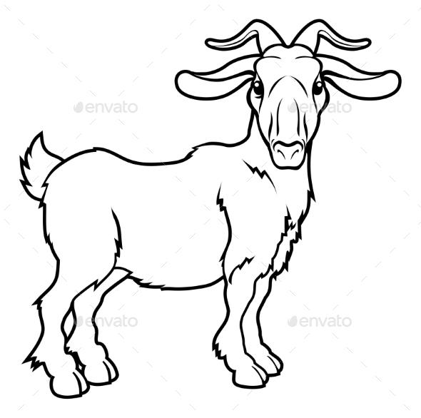 Stylized Goat Illustration  - Animals Characters