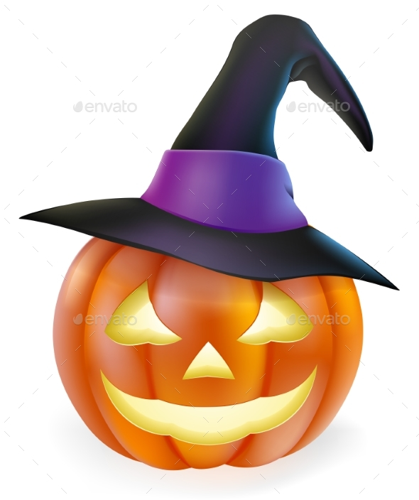 Witch Hat Halloween Pumpkin - Miscellaneous Seasons/Holidays