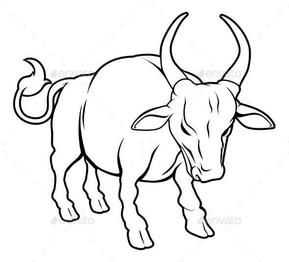 Stylized Ox Illustration - Animals Characters