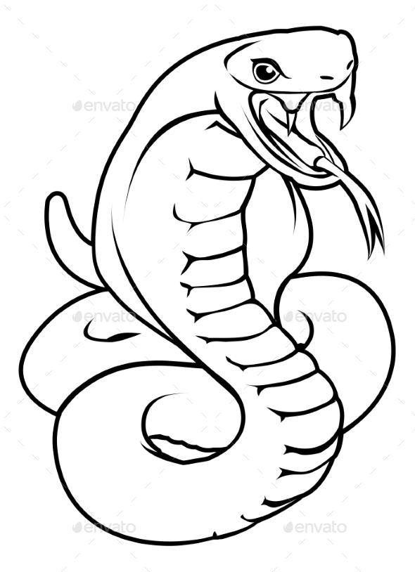 Stylised Snake Illustration - Animals Characters