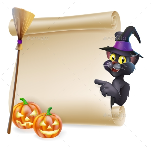 Halloween Black Cat Scroll - Miscellaneous Seasons/Holidays