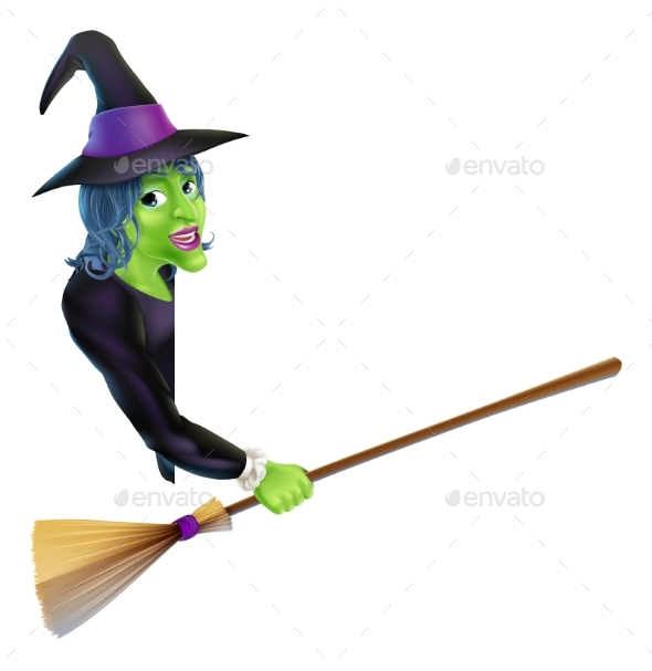 Halloween Witch Pointing with Broom - Miscellaneous Characters