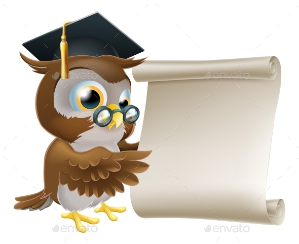 Owl With Scroll Document - Miscellaneous Vectors