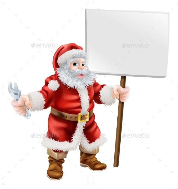 Santa Holding Spanner and Sign - Christmas Seasons/Holidays