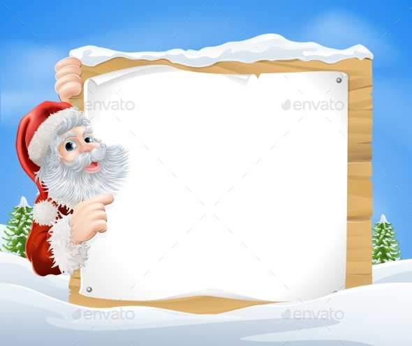 Snow Scene Christmas Santa Sign - Christmas Seasons/Holidays