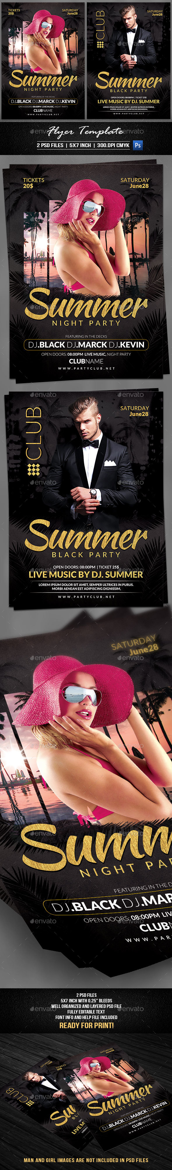 Summer Night Party Flyer Template - Flyers Print Templates