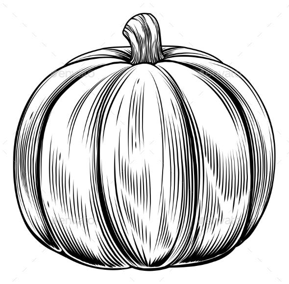 Vintage Retro Woodcut Pumpkin - Food Objects