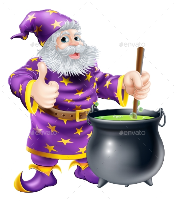 Wizard Stirring Cauldron - People Characters