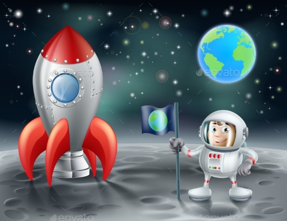 Cartoon Astronaut and Space Rocket on the Moon - Backgrounds Decorative