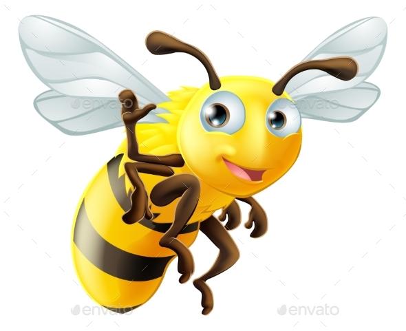 Cartoon Bee Waving - Animals Characters