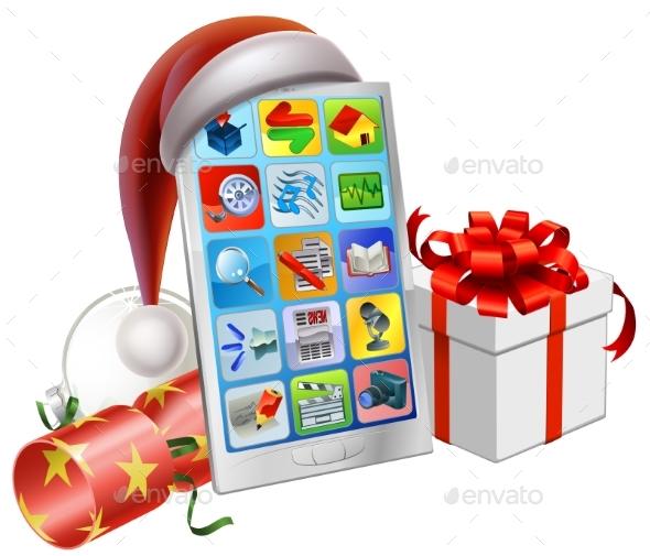 Christmas Phone Illustration - Christmas Seasons/Holidays