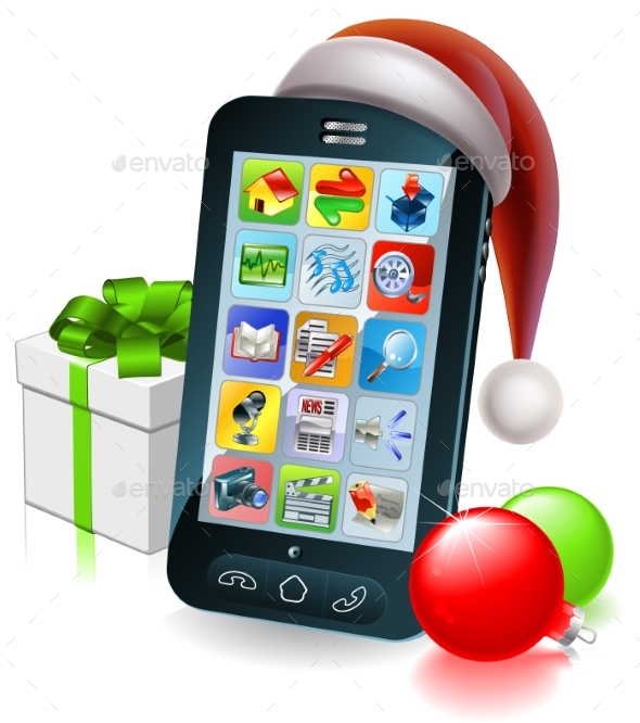 Christmas Mobile Phone Illustration - Christmas Seasons/Holidays