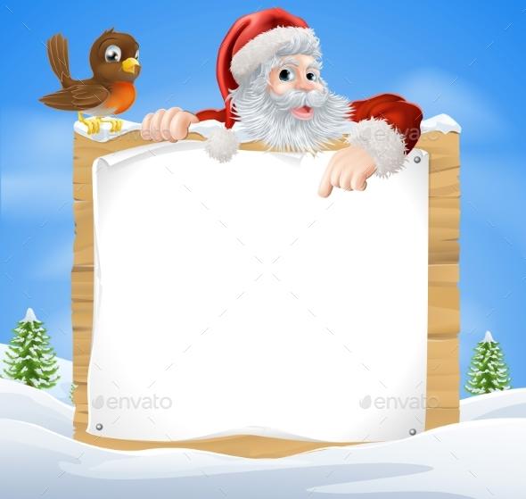 Christmas Snow Scene Santa Sign - Miscellaneous Vectors