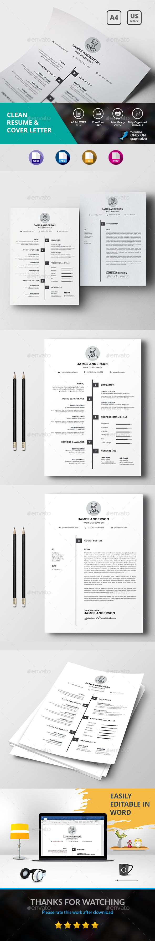 Clean Resume & Cover Letter - Resumes Stationery