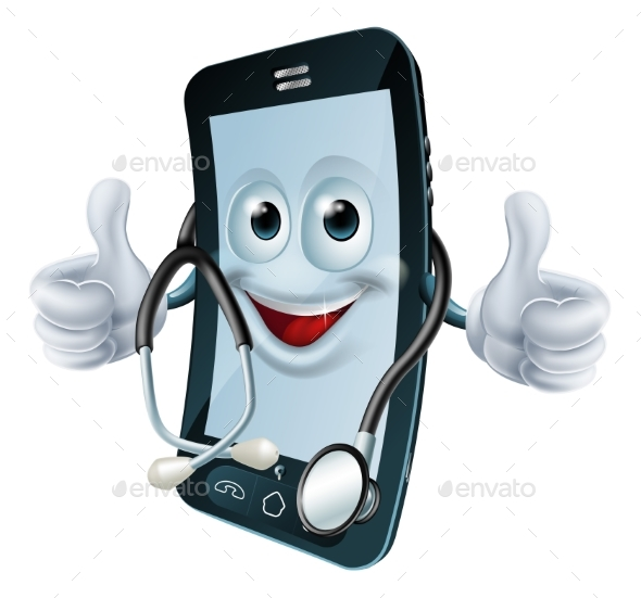 Phone Man with a Stethoscope - Health/Medicine Conceptual