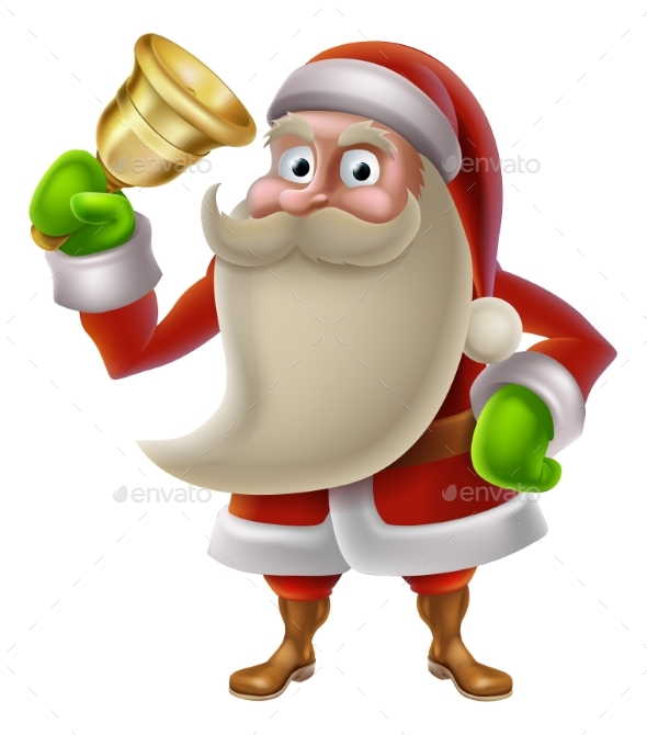 Santa Claus Ringing a Bell - Christmas Seasons/Holidays
