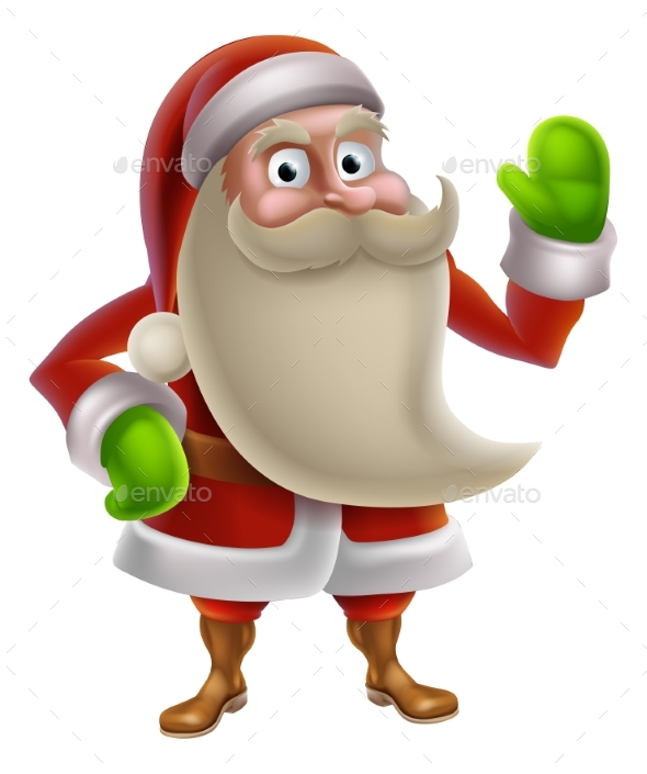 Cartoon Santa Waving - Christmas Seasons/Holidays