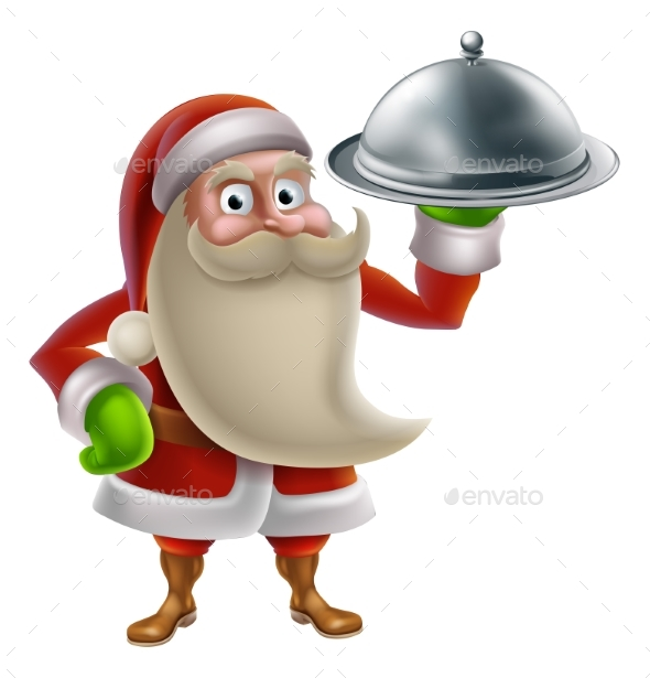 Cartoon Santa Cooking Christmas Dinner - Food Objects
