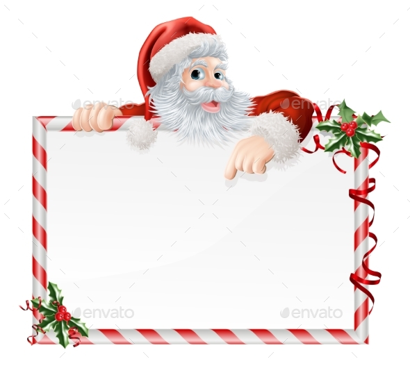 Santa Claus Cartoon Sign - Christmas Seasons/Holidays
